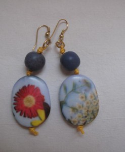 resin earrings with wildflowers
